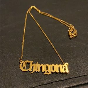 """""""Chingona"""" Old English letter necklace"""